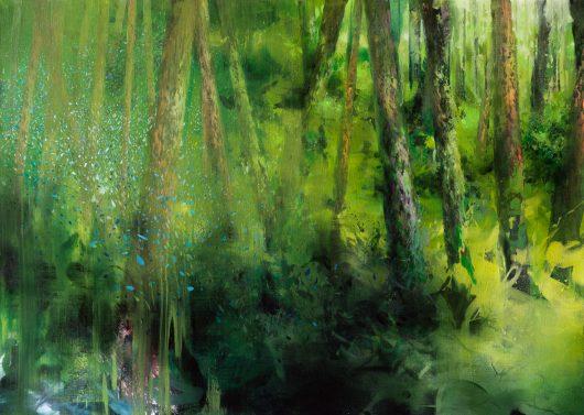 Riguardo la luce (le more), olio su lino, cm 100 x 140, 2017